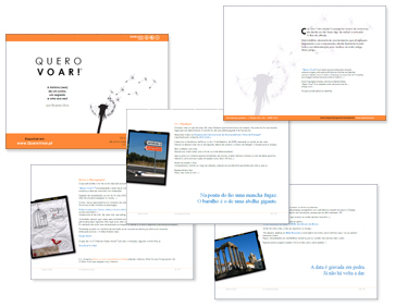 Capa, contracapa e páginas interiores do ebook 'Quero Voar!'